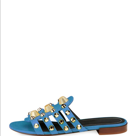 825b9c031cac Balenciaga Studded Caged Flat Slide Blue Sandal
